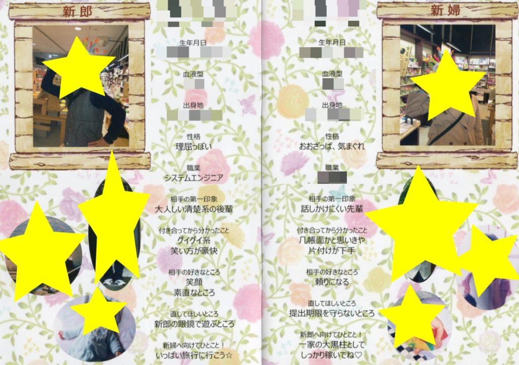 【プリントパック プロフィールブック】新郎新婦の紹介(4ページ目、5ページ目)