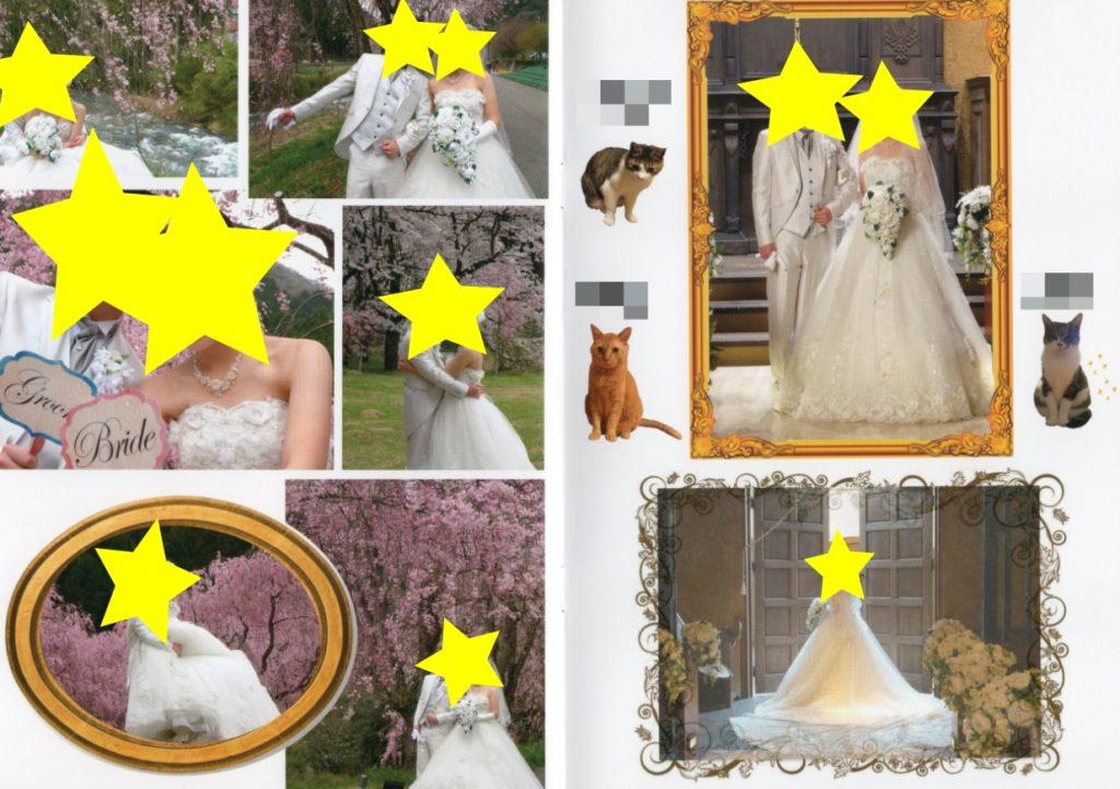 【プロフィールブック】前撮り写真(洋装ver.)と飼い猫(10ページ目、11ページ目)