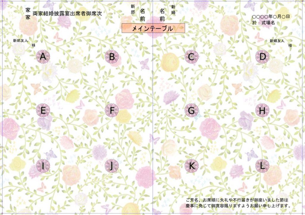 【プリントパック プロフィールブック】参列者の席次表(6ページ目、7ページ目)